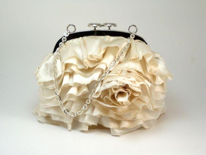Textured bridal clutch with silk ruffles