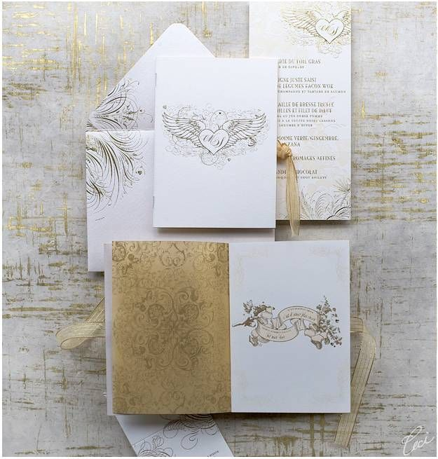 metallic gold wedding stationery