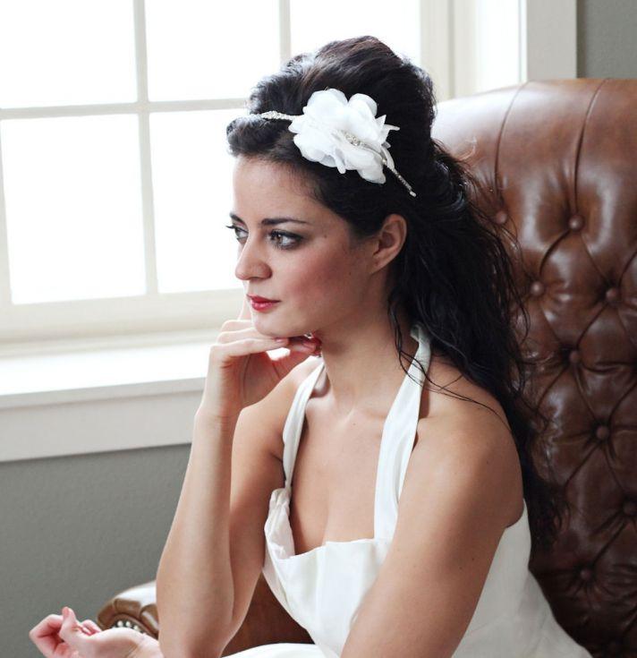Rhinestone and feather bridal headband