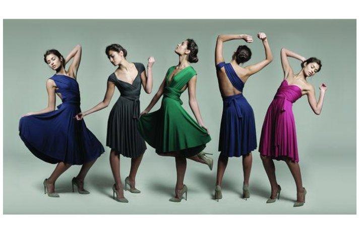 Convertible bridesmaids' dresses in rich jewel tones