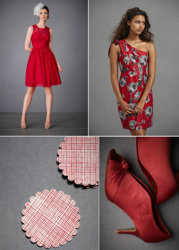 BHLDN bridal shoes, bridesmaids dresses and reception decor in red hues