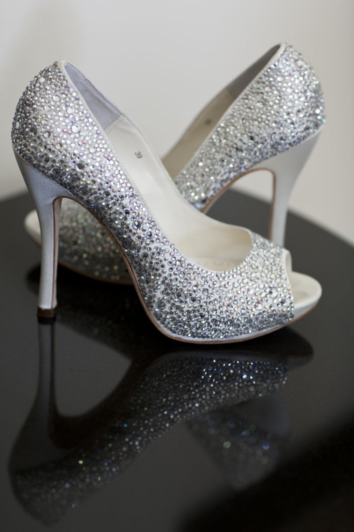 Crystal-embellished glam bridal shoes