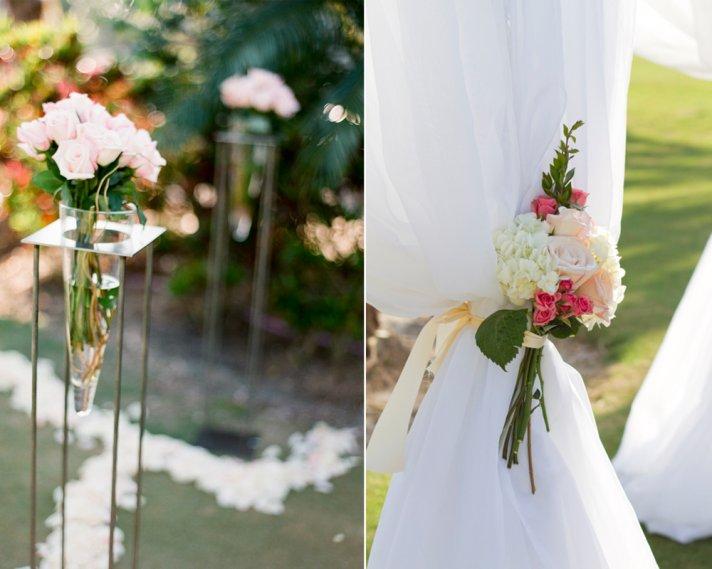 Romantic outdoor wedding ceremony decor, ivory and pink wedding flowers