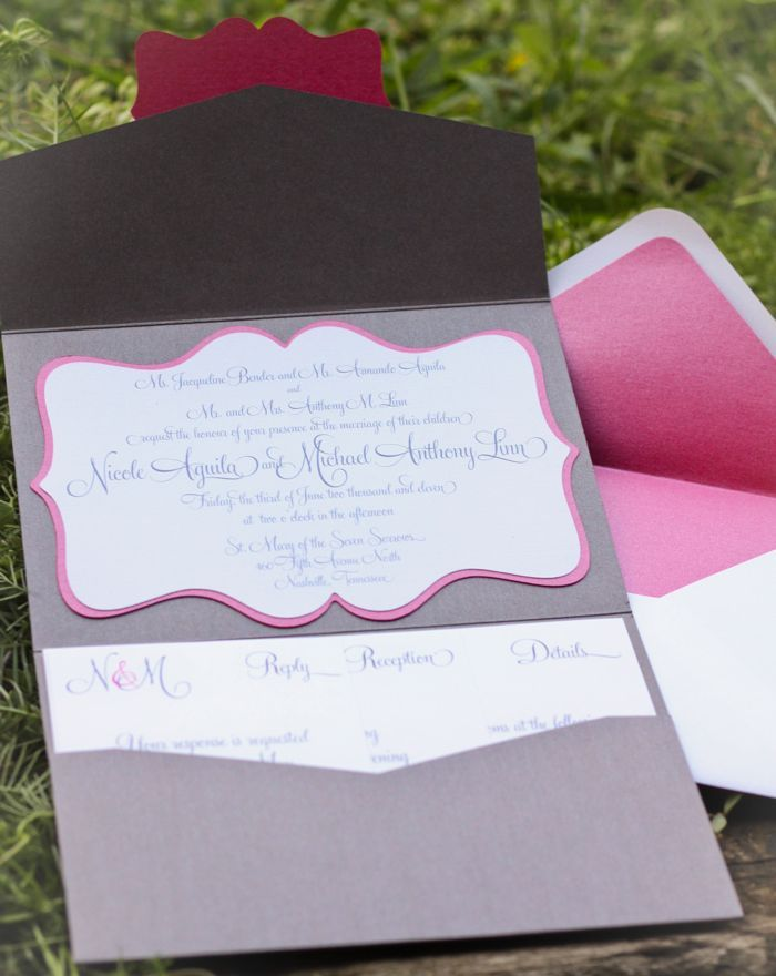 Pink and cocoa personalized wedding invitations
