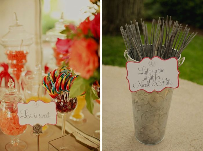 Colorful candy bar at outdoor wedding reception in Nashville