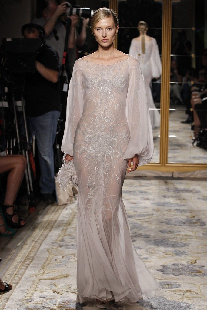 Kaftan-inspired sleeved wedding dress by Marchesa