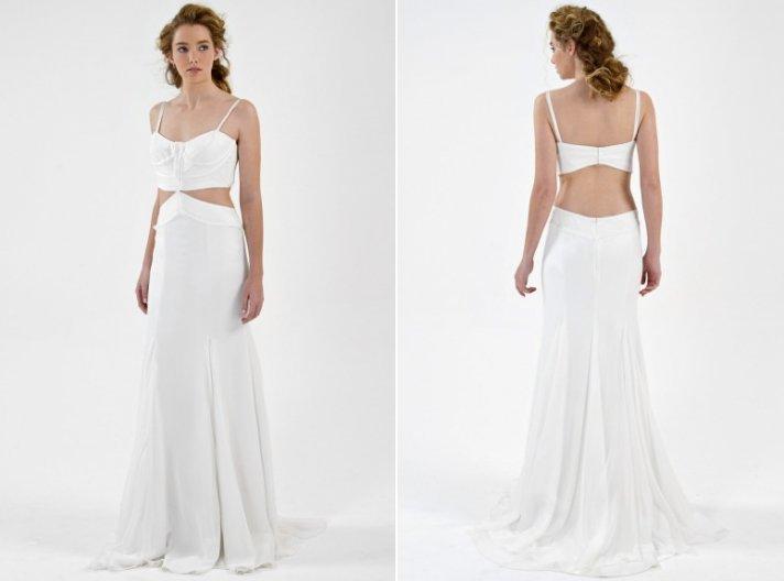 Daring open-back beach wedding dress