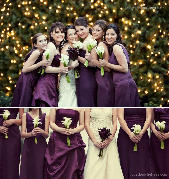 Eggplant purple bridesmaids dresses at winter wedding