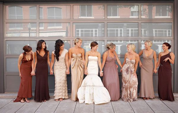 Warm champagne, brown and nude mix n match bridesmaids dresses