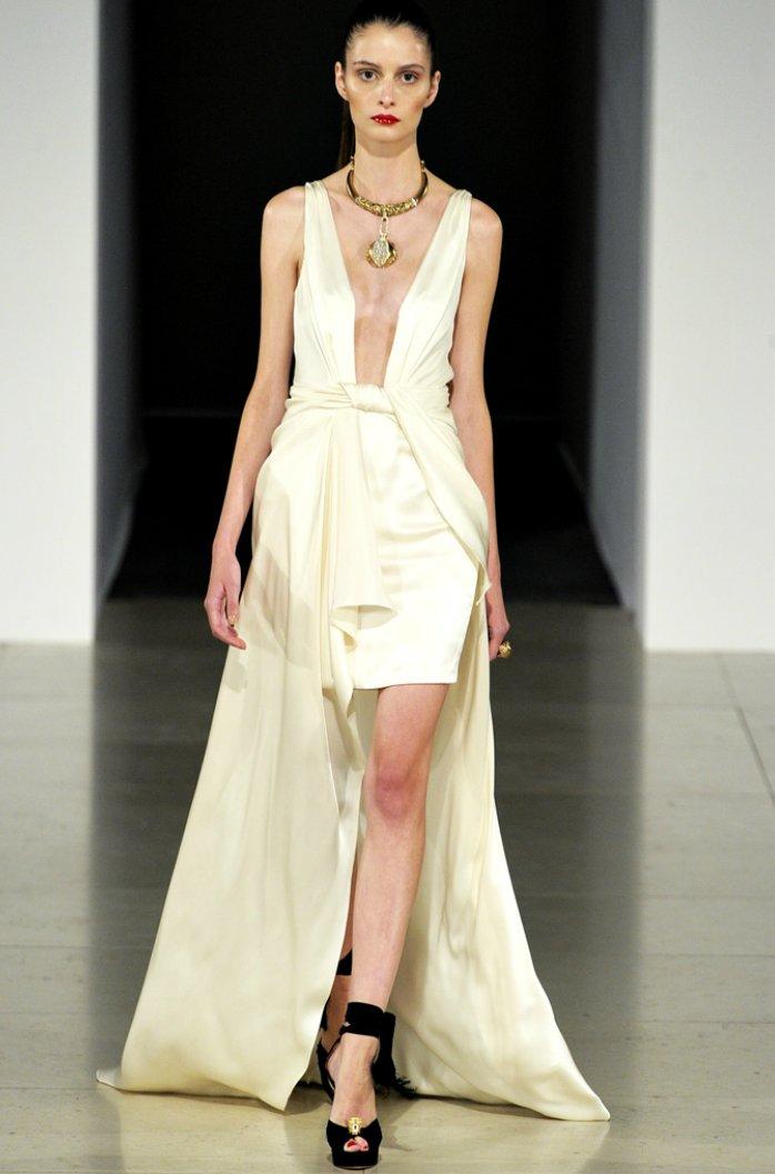 Deep v-neck silk wedding dress with detachable train