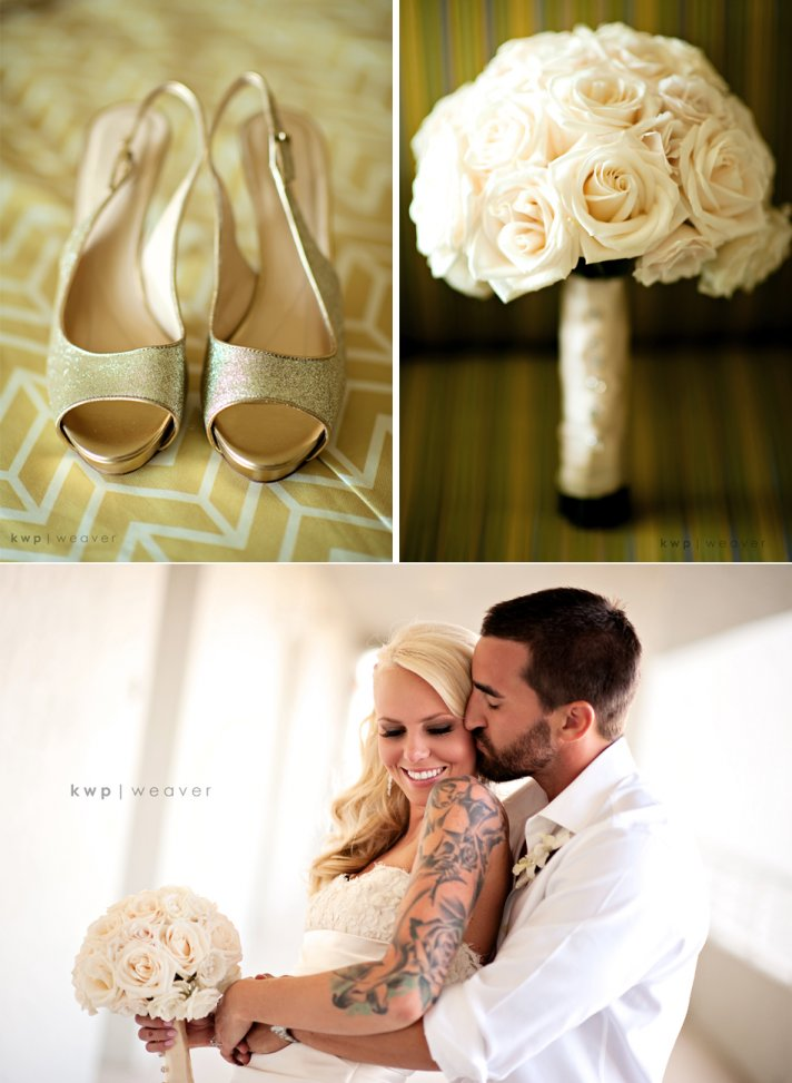Glamourous tattooed bride wears gold peep toe wedding shoes, holds ivory bridal bouquet of roses