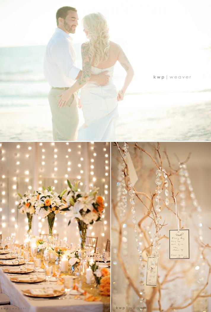 Beach bride and groom kiss near ceremony venue elegant fall wedding decor