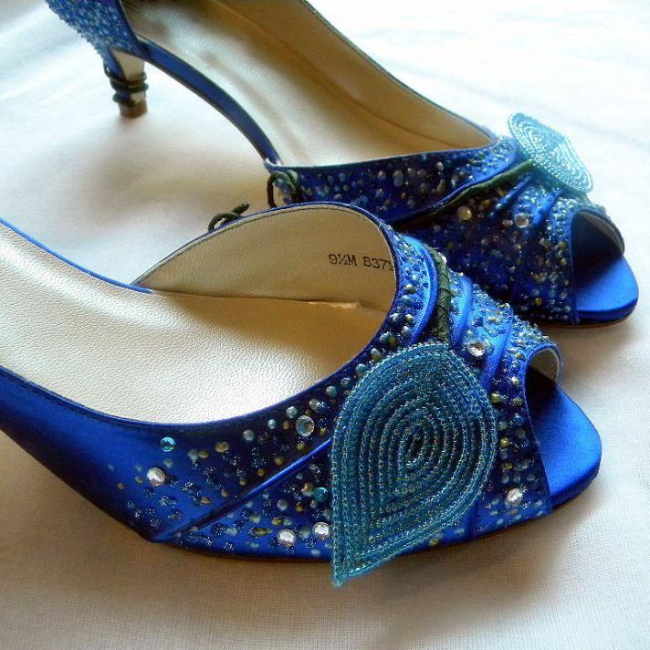 Handmade blue peep-toe wedding shoes