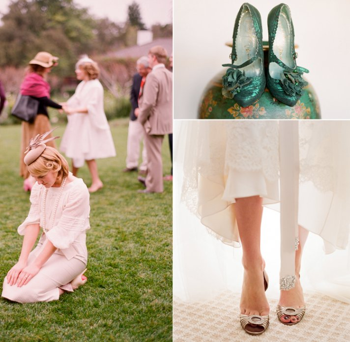 Royal wedding inspiration with gold wedding shoes
