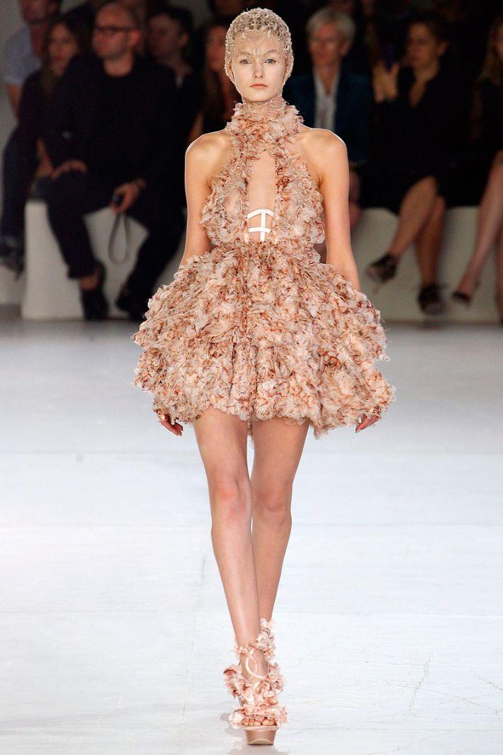 BLush mini dress with halter neckline