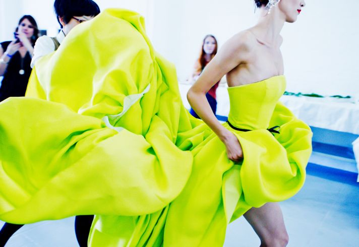 Bold chartreuse dress by Jason Wu via Vogue.com