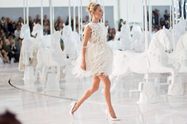 Short white wedding reception dress by Louis Vuitton