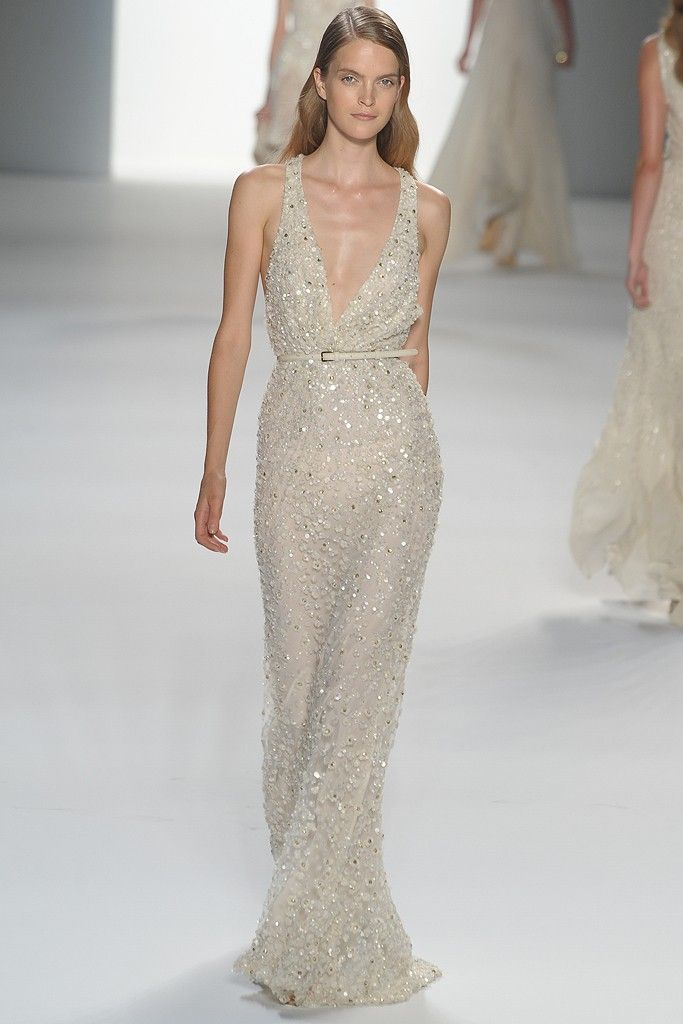Deep v neck Elie Saab beaded wedding dress