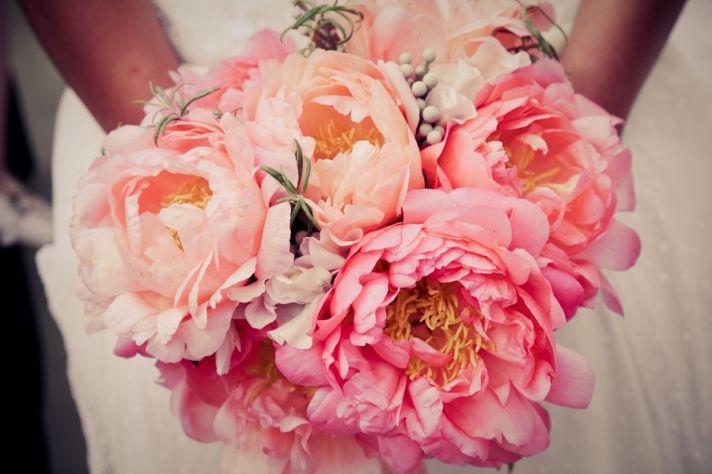 Romantic peony bridal bouquet