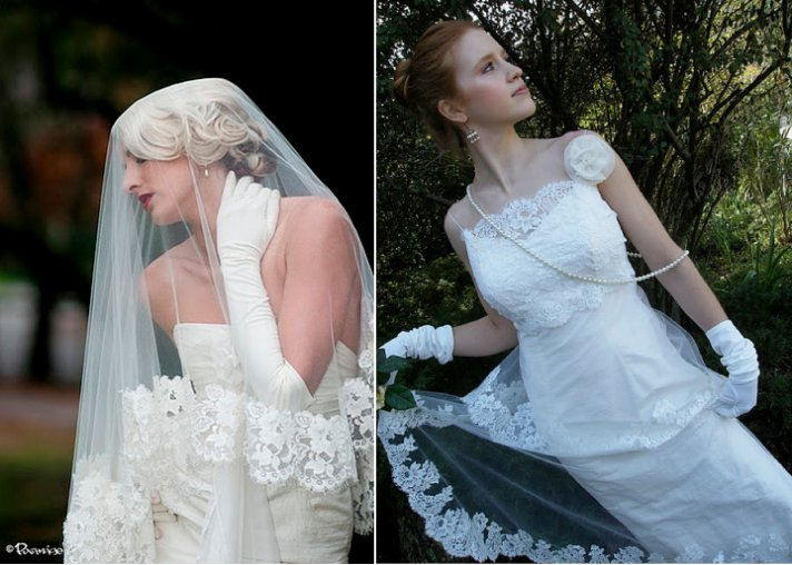 Traditional Chantilly lace wedding dresses