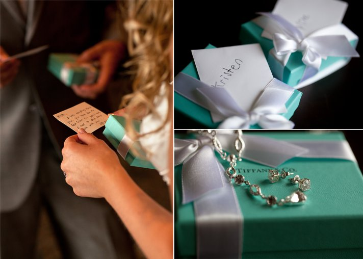 Bride wears Tiffany's bridal bracelet, bride and groom exchange wedding gifts