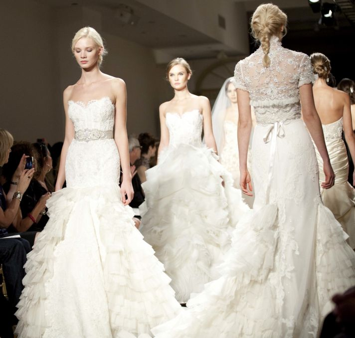 Elegant beaded, layered and embellished Spring 2012 wedding dresses