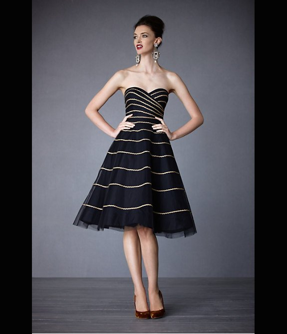 Retro-inspired black and gold bridesmaid dress