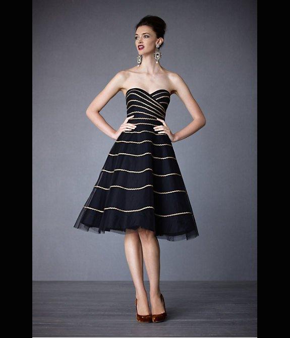 Retro-inspired black and gold bridesmaid dress
