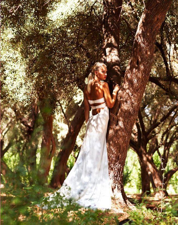 Open back ivory silk wedding dress