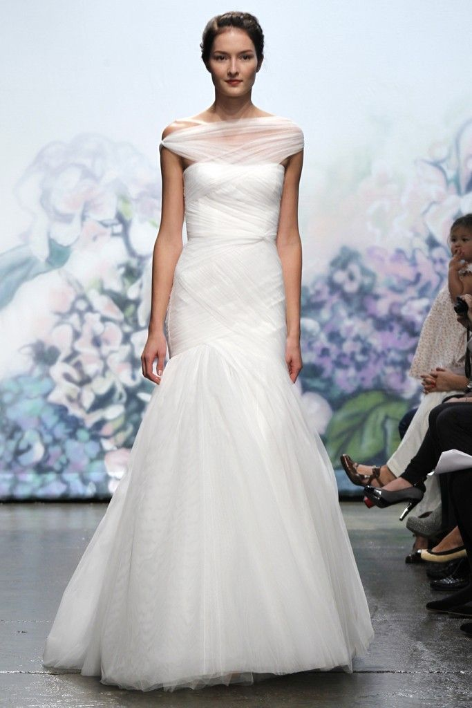 Monique Lhuillier wedding dress with sheer one-shoulder neckline
