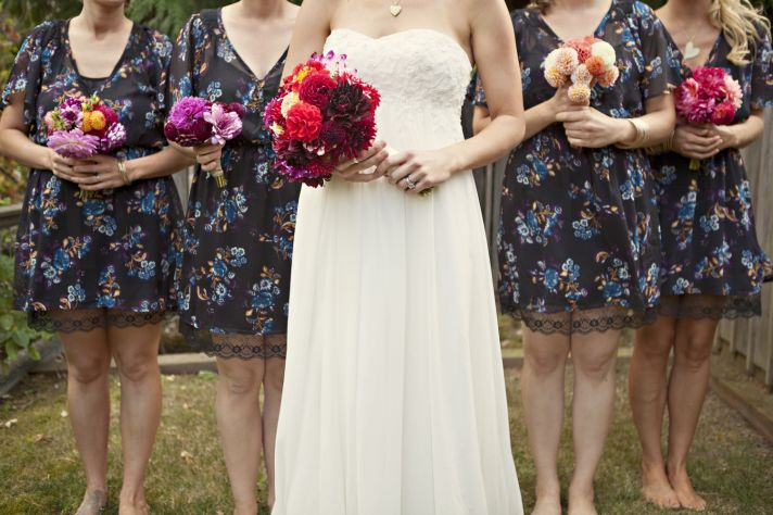 Empire wedding dress, patterned bridesmaids dresses