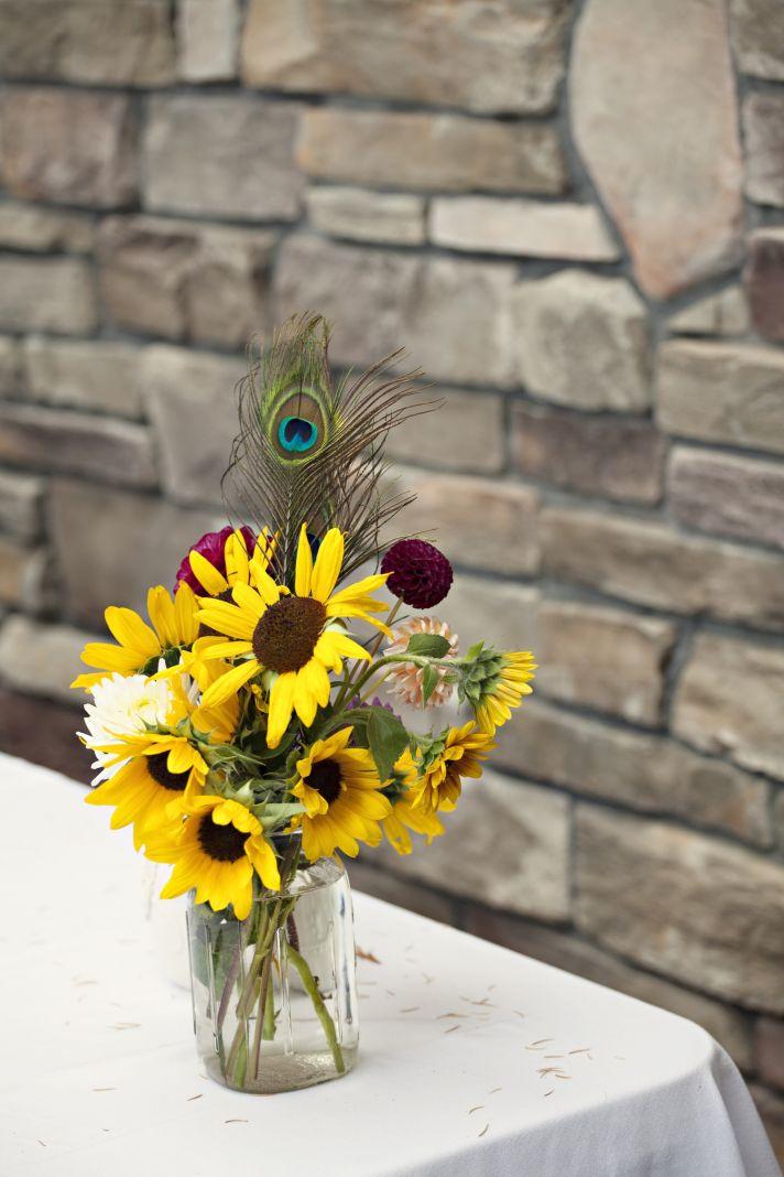 Sunflower wedding centerpiece