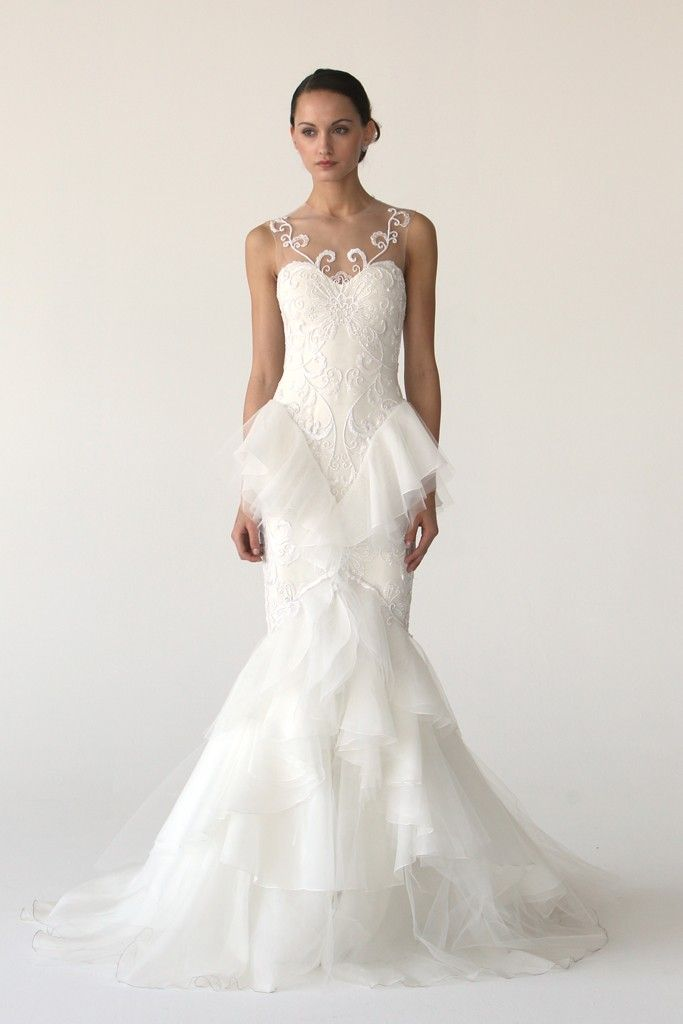 2012 wedding dress trend, peplums- Monique Lhuillier, Marchesa