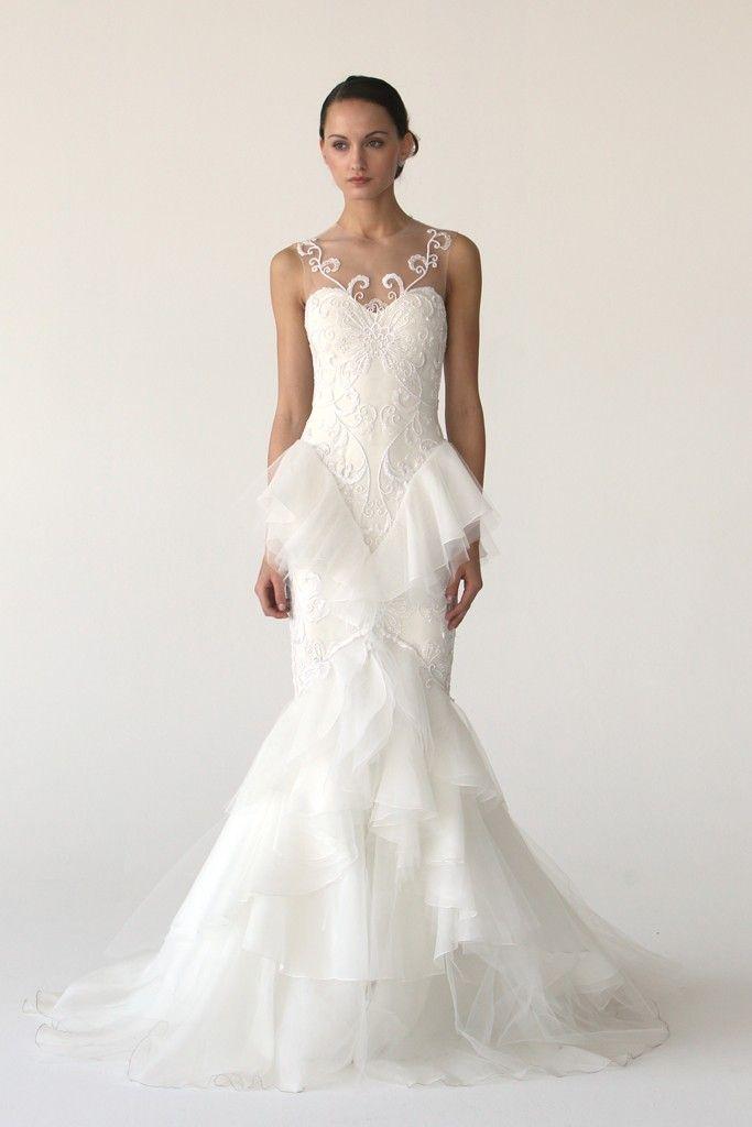 2012 wedding dress trend, peplums- Monique Lhuillier, Marchesa