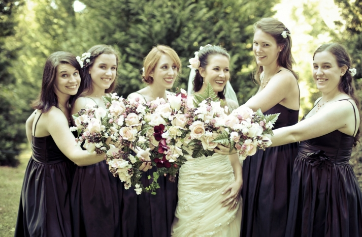 Real-fall-wedding-bridal-bouquet-eggplant-purple-bridesmaids-dresses