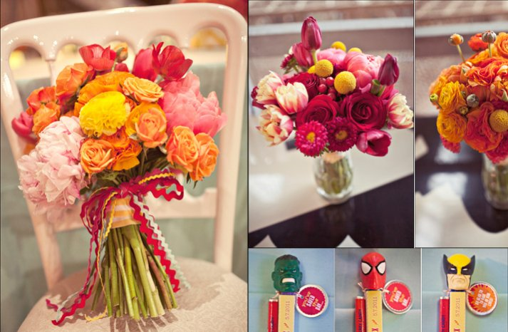 Superhero-themed-wedding-flowers