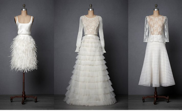BHLDN wedding dress separates for vintage inspired brides- 3 unique wedding looks