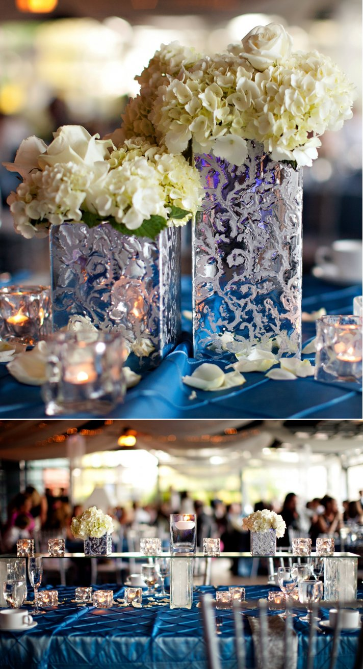 elegant spring wedding with blue, silver, ivory wedding color palette- wedding flower centerpieces