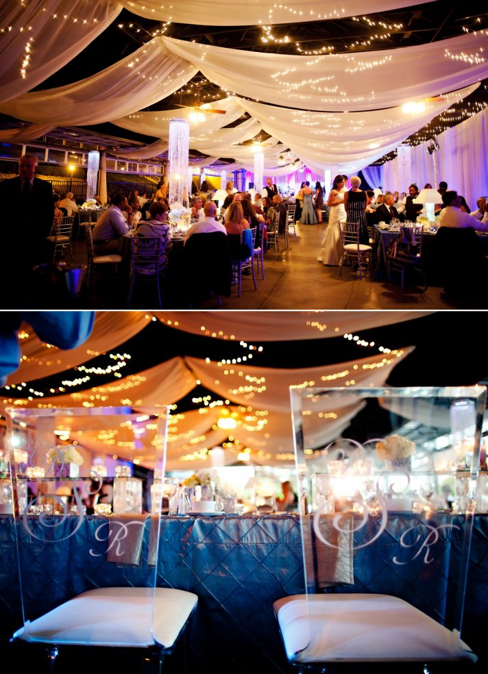 elegant spring wedding with blue, silver, ivory wedding color palette- glamourous decor