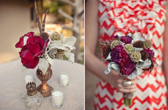 Dark-red-roses-wedding-flower-centerpieces-bridesmaids-bouquet