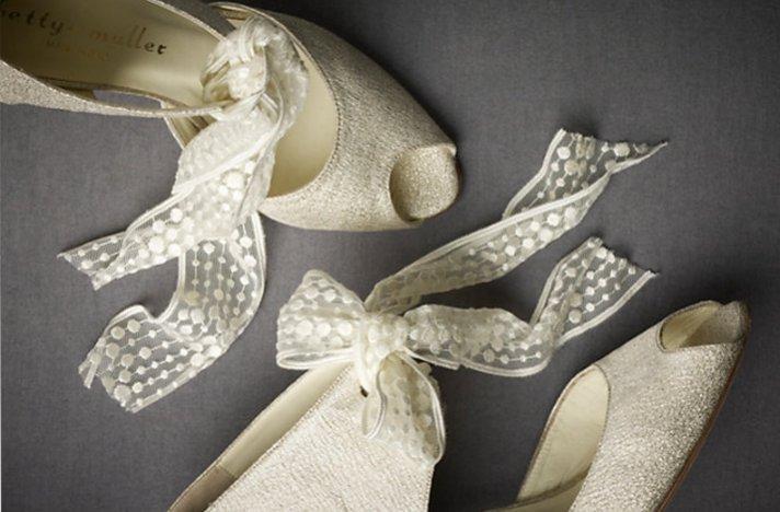 BHLDN wedding shoes- ivory peep-toe bridal booties