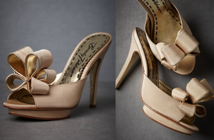BHLDN wedding shoes- bow-adorned platform slip ons