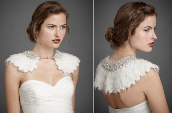 Bridal boleros by BHLDN- Feather-adorned wedding collar
