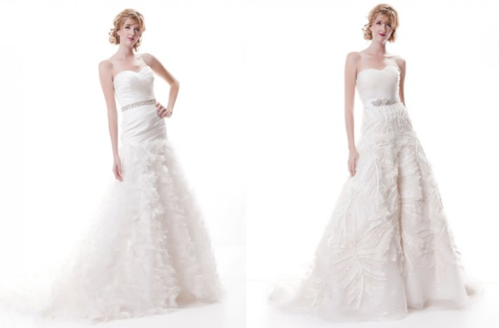 Sarah Houston wedding dresses, 2012 bridal- sweetheart a-lines with textured embellished skirts