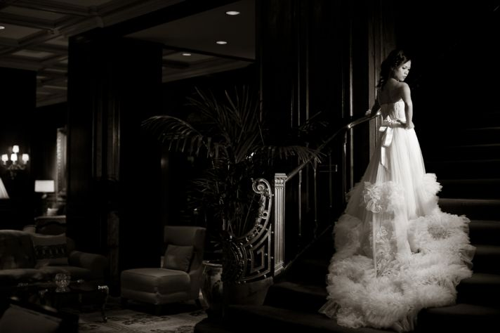 Nha Khanh custom wedding dress- bride wears a-line gown with ruffle skirt