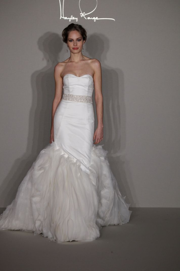 Hayley Paige 2012 wedding dress- drop-waist mermaid with beaded bridal belt