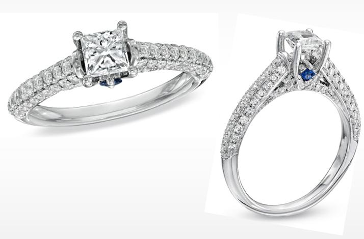 Vera Wang LOVE engagement ring princess cut with diamond shank