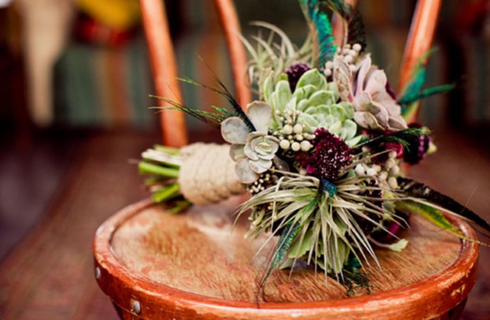eco friendly bridal bouquets succulents fall winter wedding