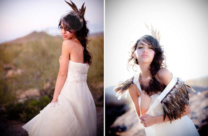 desert bride wears white wedding dress haute couture wedding headpiece feathers