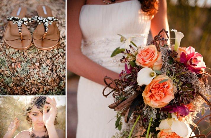 desert chic wedding inspiration gold color palette